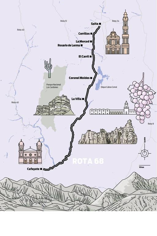 Mapa da Ruta 68, em Salta, na Argentina
