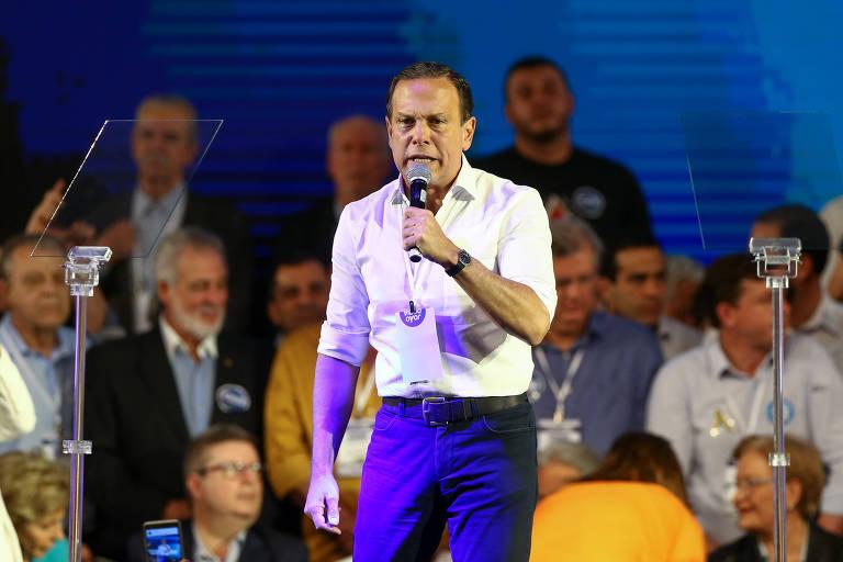 O candidato ao governo de SP João Doria discursa durante a Convenção Nacional do PSDB, que lançou Geraldo Alckmin como candidato a presidente nas eleições de 2018