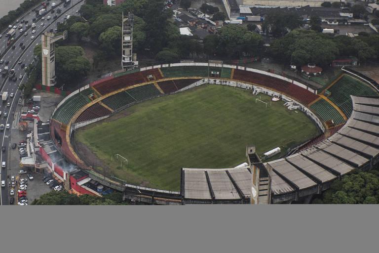 Vista aérea do estádio do Canindé, em São Paulo