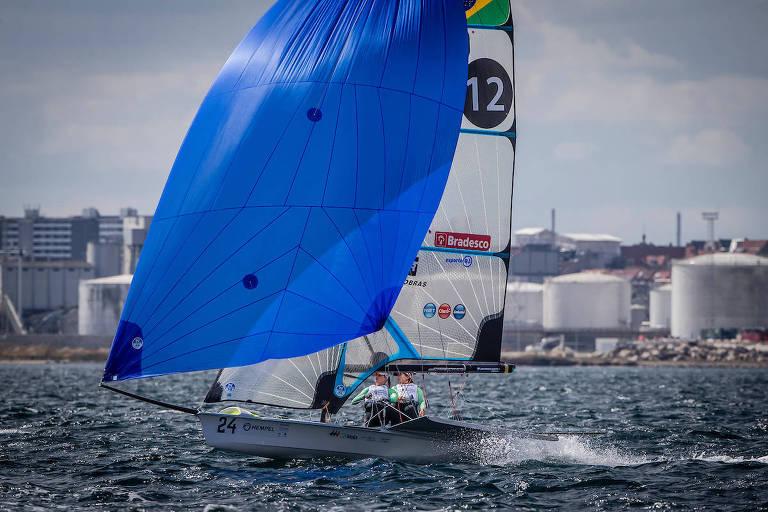 Martine Graelk e Kahena Kunze no Mundial de vela