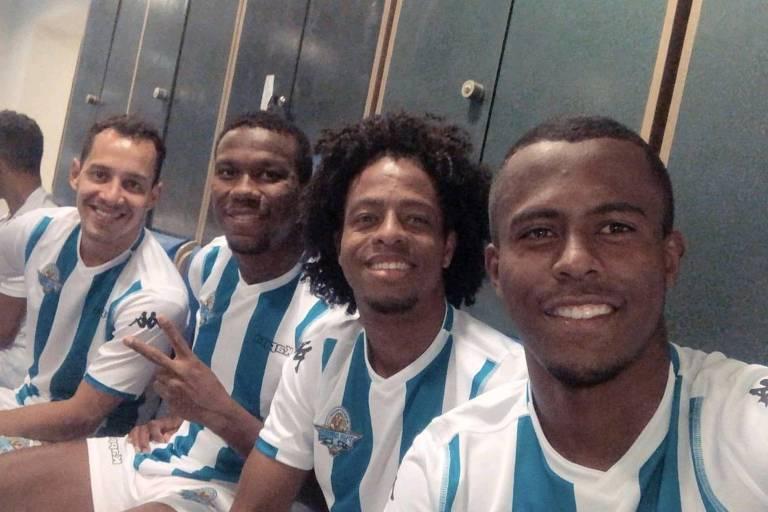 Os brasileiros Rodriguinho, Ribamar, Keno e Carlos Eduardo, do Pyramids
