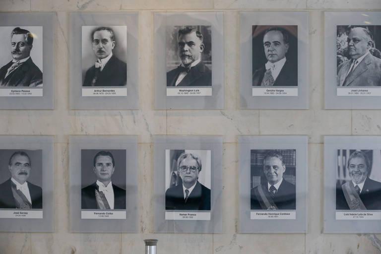 Galeria dos presidentes no Palácio do Planalto em Brasília
