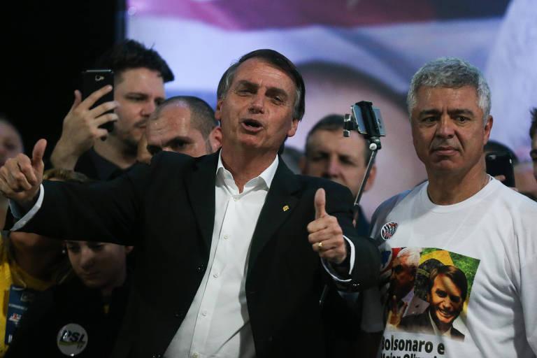 O presidenciável Jair Bolsonaro durante convenção de seu partido, o PSL