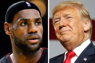 FILE PHOTO: A combination photo of NBA basketball player LeBron James and U.S. President Donald Trump i