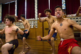 Boys from Gisborne Boys' High School practice in the school hall for the National Secondary Schools Kapa Haka Competition, in Gisborne, New Zealand.