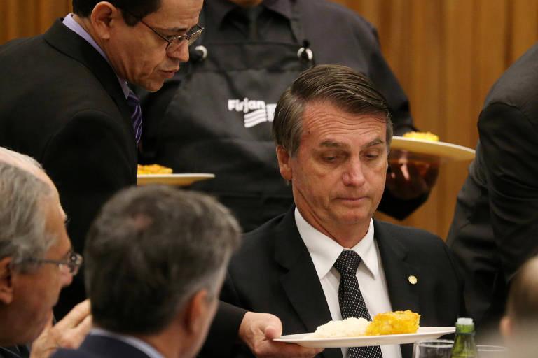 Jair Bolsonaro em almoço na Federação das Indústrias do Rio de Janeiro
