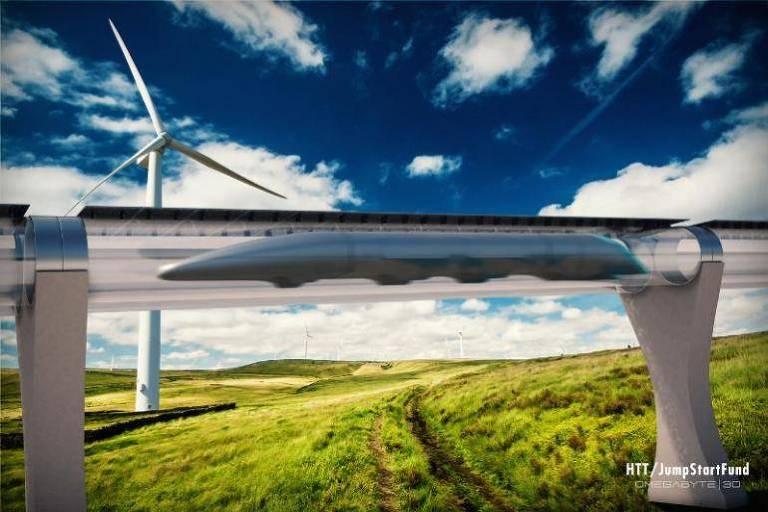 Projecao do sistema Hyperloop, que permitira viajar de trem a 1.200 km/h