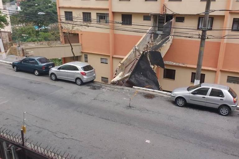Passarela de prédio na Vila Mariana, em SP, cai; prédio é evacuado