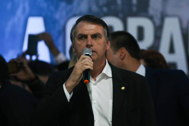 O presidenciável Jair Bolsonaro durante a convenção estadual do PSL, em São Paulo
