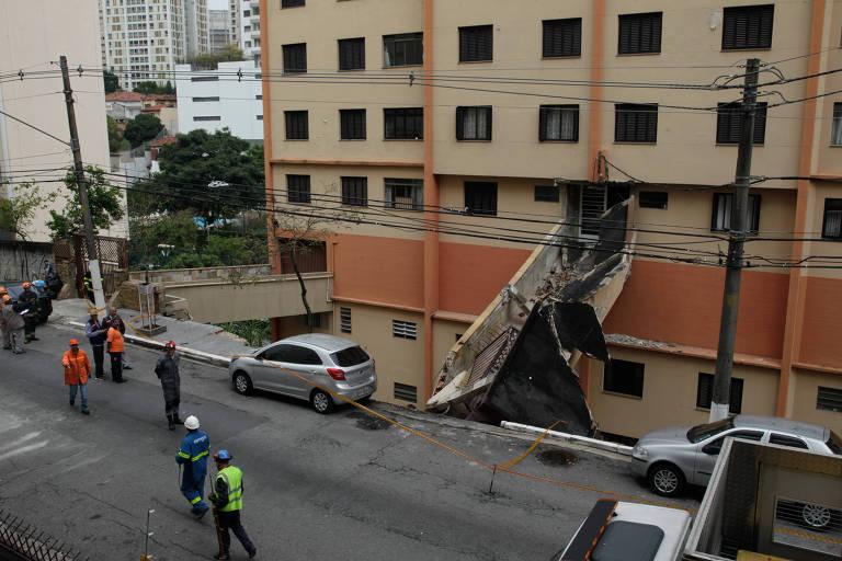 Um muro de arrimo desabou em prédio na Vila Madalena