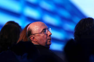Meirelles of the Brazilian Democratic Movement (MDB) party, candidate for Brazil's presidential election, attends the GovTech seminar in Sao Paulo