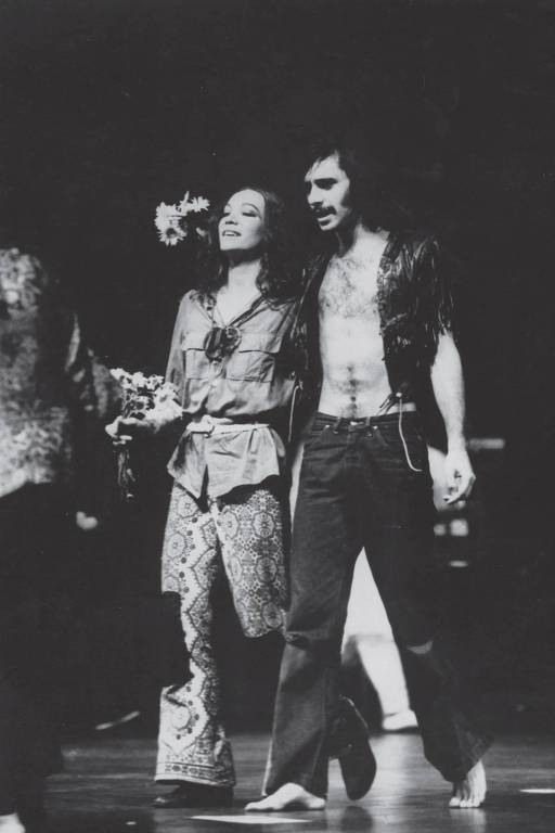 "Antonio Fagundes no espetáculo ""Hair"", no Teatro Aquarius (SP), em 1969"