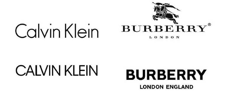 Antigos e novos logos da Burberry, Yves Saint Laurent, Calvin Klein e DVF