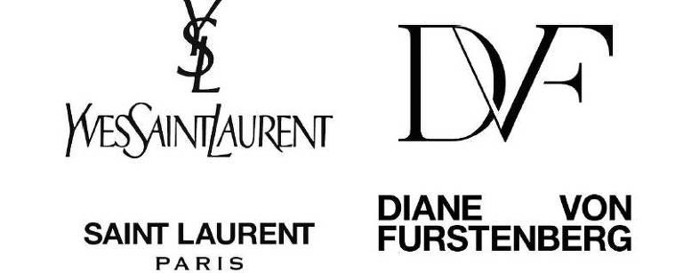 Antigos e novos logos da  Yves Saint Laurent e da DVF