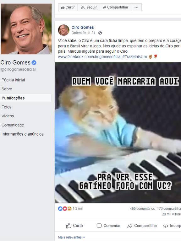 Página de Ciro Gomes no Facebook usa meme de gatinho