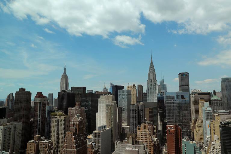 Edifícios no centro de Manhattan, em Nova York