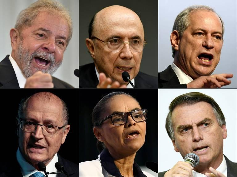 Lula (PT), Henrique Meirelles(MDB), Ciro Gomes (PDT), Geraldo Alckmin (PSDB), Marina Silva (Rede) e Jair Bolsonaro (PSL)