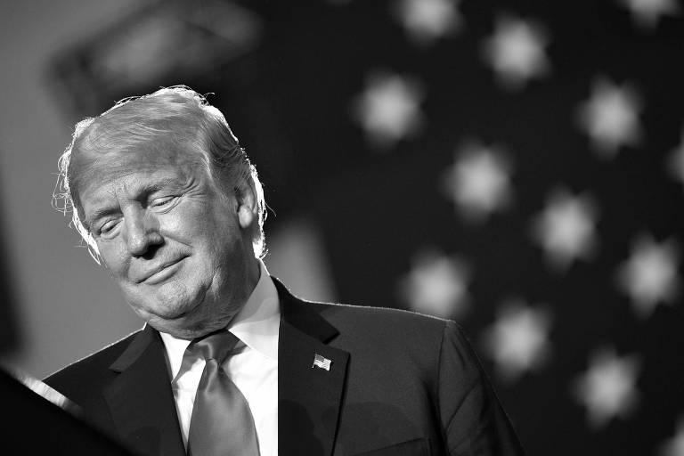 O presidente dos EUA, Donald Trump, durante discurso em evento em Ohio