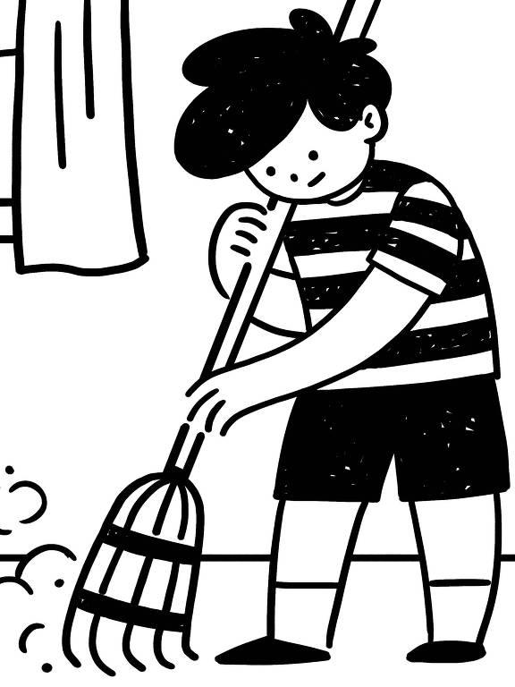 Ilustração de criança varrendo a casa