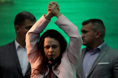 Lawyer Janaina Paschoal delivers a speech during the national convention of the Party for Socialism and Liberation (PSL) where Federal deputy Jair Bolsonaro is to be formalised as a candidate for the Presidency of the Republic, in Rio de Janeiro, Brazil July 22, 2018. REUTERS/Ricardo Moraes ORG XMIT: RJO23