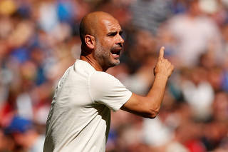 FILE PHOTO: Manchester City manager Pep Guardiola at Wembley Stadium, London, Britain - August 5, 2018