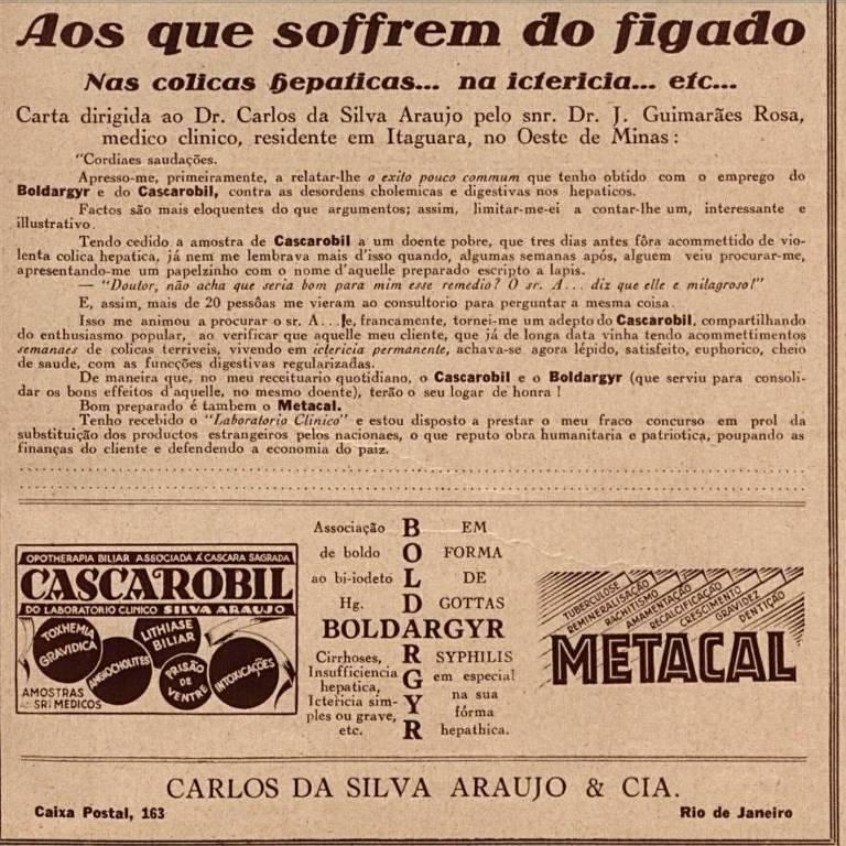 Anúncio de medicamentos com carta de Guimarães Rosa, na revista O Cruzeiro, em 1931