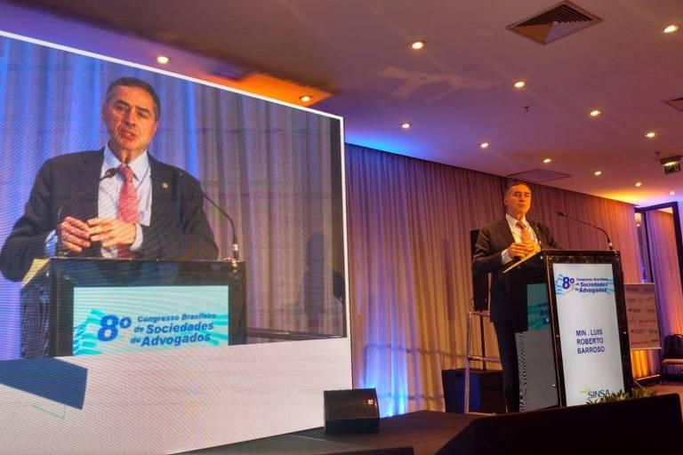 Barroso, ministro do STF, durante o 8º Congresso Brasileiro de Sociedades de Advogados