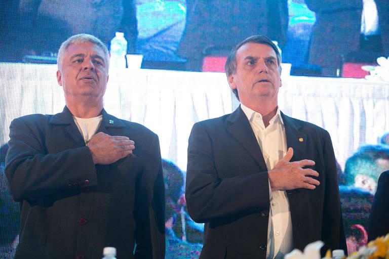 O deputado estadual Major Olímpio (PSL) e o candidato à Presidência da República, Jair Bolsonaro (PSL)