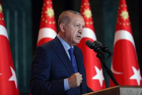 (180813) -- ANKARA, agosto 13, 2018 (Xinhua) -- El presidente de Turquía, Recep Tayyip Erdogan, pronuncia un discurso durante una conferencia de embajadores turcos, en el Palacio Presidencial, en Ankara, Turquía, el 13 de agosto de 2018. El desplome de la lira turca es