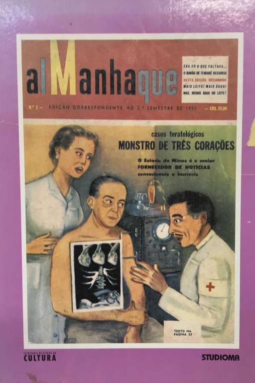 """Reprodução do livro """"Almanhaque 1955 Segundo Semestre"""" ou """"Almanaque d' A Manha"""", do jornalista Aparício Torelly, o Barão de Itararé"""