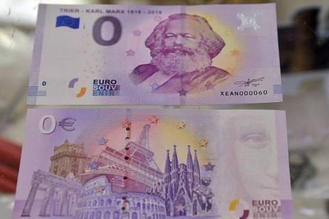 Frente e verso da nota comemorativa do 200º aniversário de Karl Marx