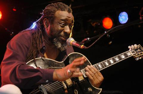 ORG XMIT: 372301_1.tif James Blood Ulmer speaks to the audience at Tipitina's nightclub in New Orleans, in this photo taken Nov. 15, 2003. (AP Photo/Cheryl Gerber)