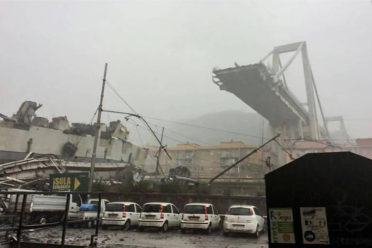 Ponte desaba na Itália e deixa mortos