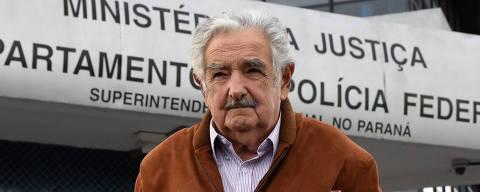 CURITIBA,PR,21.06.2018:MUJICA-VISITA-LULA-PRISÃO - O ex presidente do Uruguai, José Mujica em entrevista coletiva após visitar o ex presidente Luiz Inácio Lula da Silva, que está preso na sede da Polícia Federal em Curitiba (PR), nesta quinta-feira (21). A presidente do PT, Gleise Hoffmann esteve presente. (Foto: Everson Bressan/Futura Press/Folhapress) ***PARCEIRO FOLHAPRESS - FOTO COM CUSTO EXTRA E CRÉDITOS OBRIGATÓRIOS***