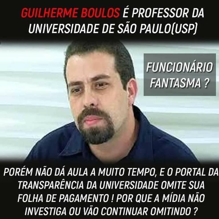 Mensagem compartilhada que afirma Boulos ser professor da USP é falsa