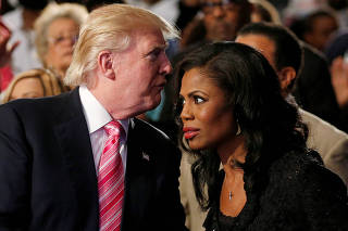 FILE PHOTO: Republican presidential nominee Trump and Manigault attend a church service in Detroit