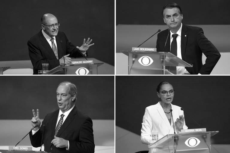 No sentido horário, os candidatos à Presidência Geraldo Alckmin (PSDB),  Jair Bolsonaro (PSL), Marina Silva (Rede) e Ciro Gomes (PDT) durante debate na Bandeirantes