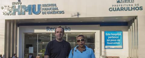 SÃO PAULO, SP, BRASIL. 14/08/2018. Na foto William Leite, autônomo e Divina Gonçalves, 60, administradora, em frente ao Hospital de Urgência de Guarulhos, onde um parente está hospitalizado. O Hospital de Urgência de Guarulhos apresenta condições precárias de atendimento e de higiene. (Foto: Jardiel Carvalho/Folhapress) NAS RUAS*** ESPECIAIS ***EXCLUSIVO AGORA ***EMBARGADO PARA VEíCULOS ONLINE ***UOL, FOLHA.COM E FOLHAPRESS, CONSULTAR FOTOGRAFIA DO AGORA SAO PAULO *** f: 3324-2169, 3224-3342