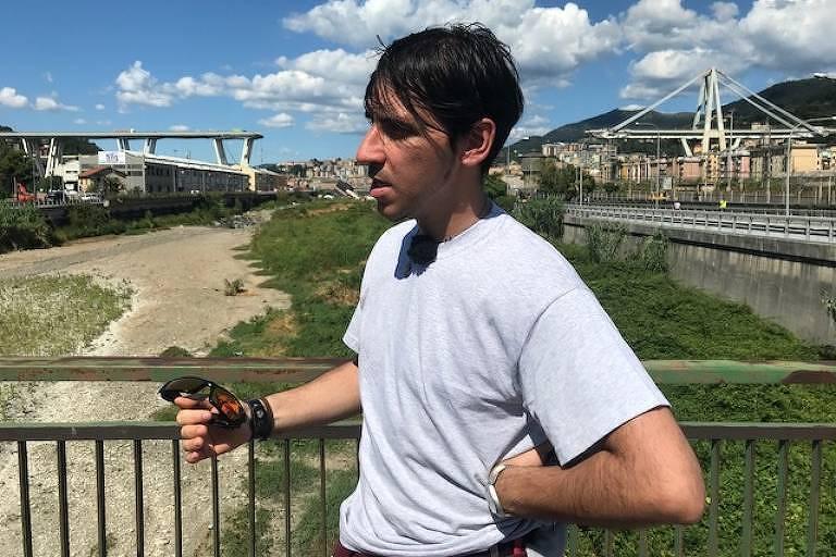 O mecânico italiano Carmelo Chiarenza, 36, conta como correu para se proteger do desmoronamento da ponte de Gênova
