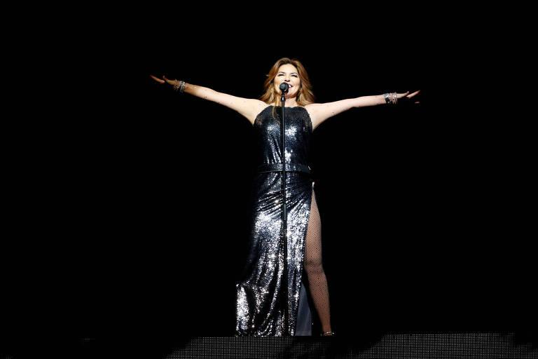 A cantora canadense Shania Twain durante show em Los Angeles
