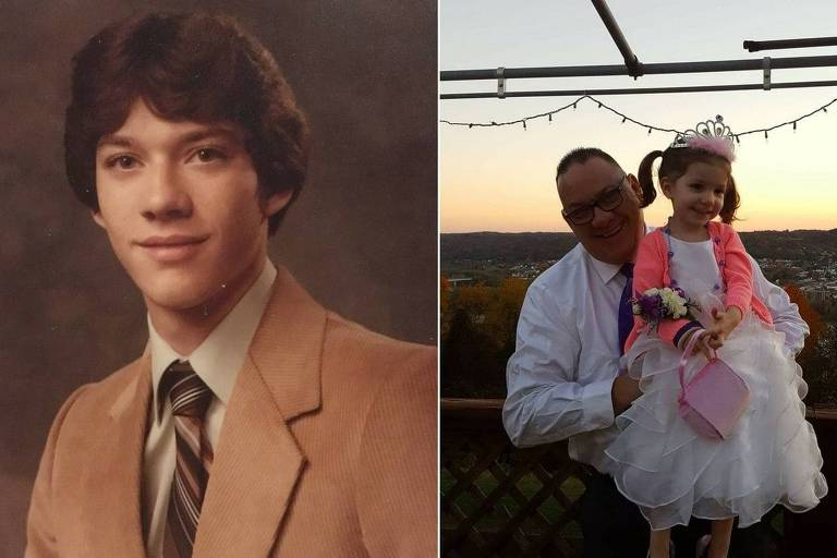 Jim VanSickle quando estava no ensino médio (esq.) e atualmente com com sua neta
