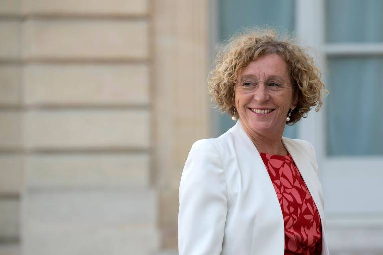 A ministra do Trabalho da França, Muriel Pénicaud, chega ao Palácio do Eliseu, em Paris