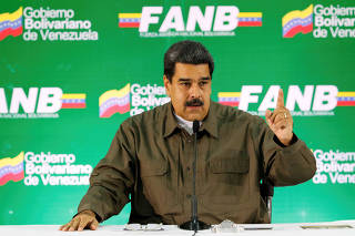 Venezuela's President Nicolas Maduro speaks during a meeting with military high command members in Caracas