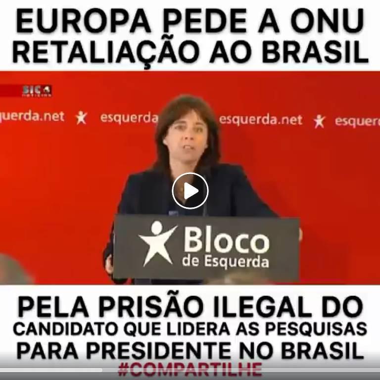 """Viral com informação falsa. Não há registro de que a Europa tenha pedido qualquer """"retaliação ao Brasil"""""""