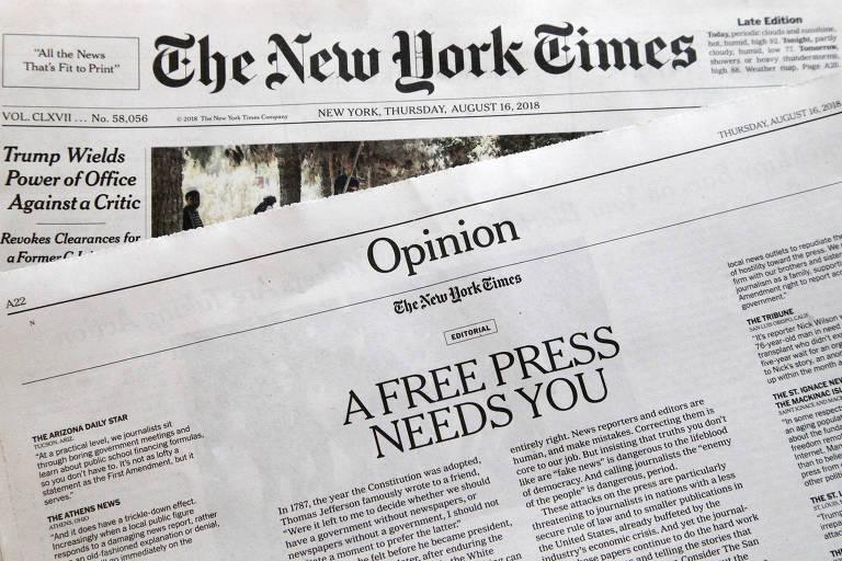 Imagem do jornal The New York Times da quinta-feira (16), com editorial que responde às críticas de Trump à imprensa