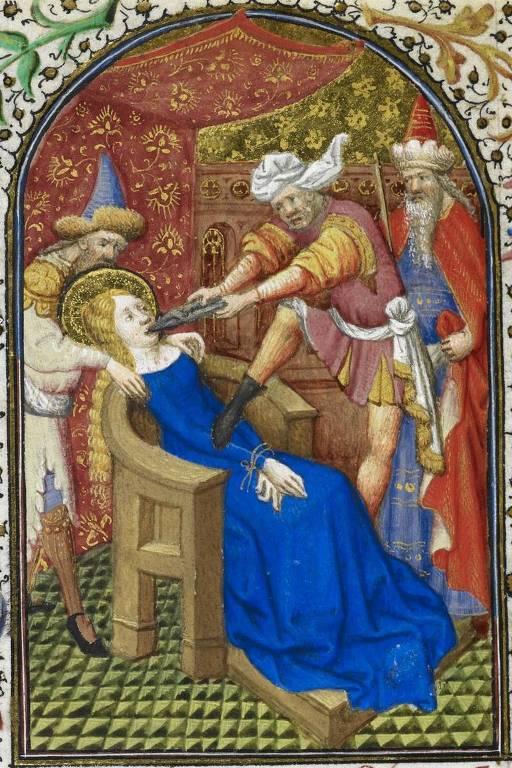Iluminura do século 15 que retrata o martírio de Santa Apolônia
