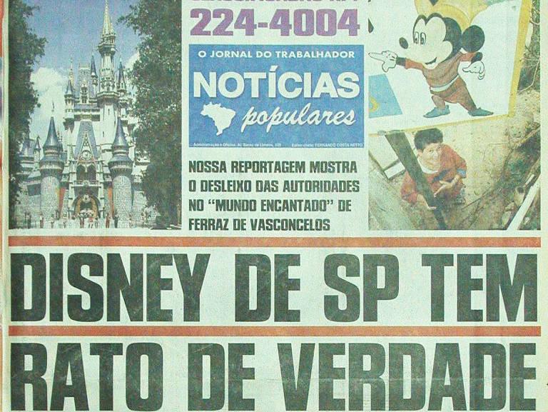 Manchete do Notícias Populares publicada em 2 de agosto de 1998