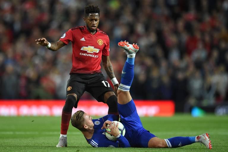 Fred em ação pelo Manchester United contra o Leicester na estreia da equipe na temporada passada