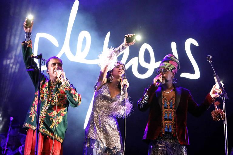 Arnaldo Antunes, Marisa Monte e Carlinhos Brown em show no Rio de Janeiro