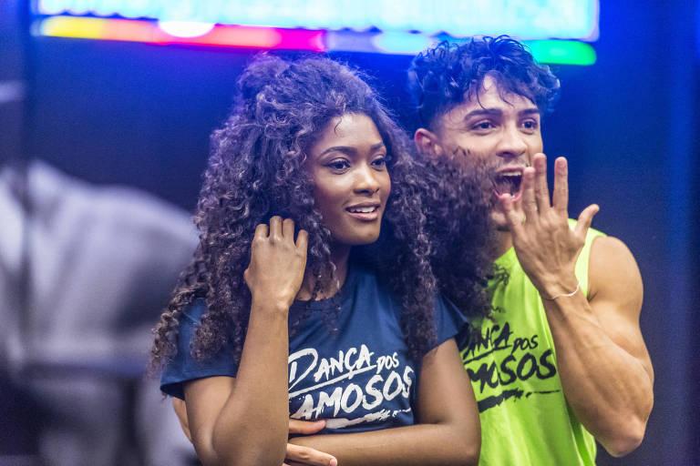 Ensaios de Erika Januza e o bailarino Elias Ustariz para a Dança dos Famosos, quadro do Domingão do Faustão